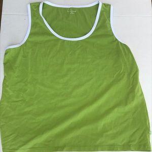 Liz Claiborne Green Cotton Tank Top 2X